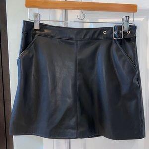 Zara Black Leather Mini Skirt